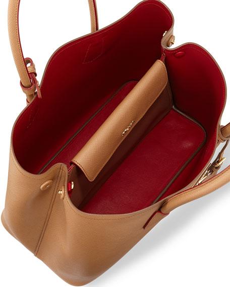 Prada Saffiano Cuir Medium Double Bag, Camel (Carmello)