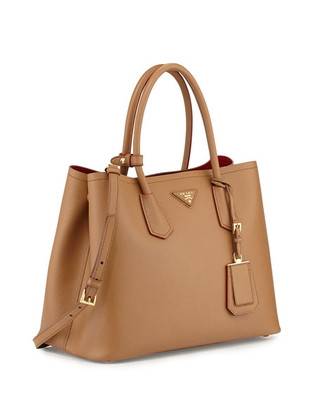 1e1392d8df94a2 Prada Saffiano Cuir Medium Double Bag, Camel (Carmello)