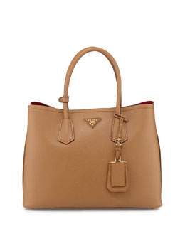 Saffiano Cuir Medium Double-Pocket Tote Bag, Camel (Caramello)