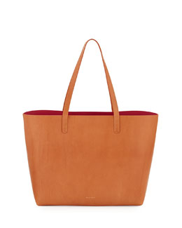 Mansur Gavriel Large Leather Tote Bag with Coated Interior, Camello/Dolly