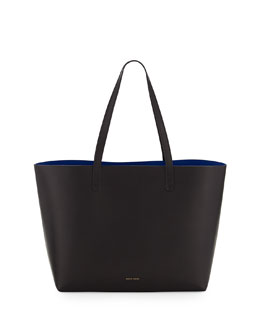 Mansur Gavriel Large Leather Tote Bag with Coated Interior, Black/Royal