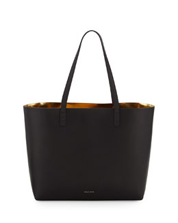 Mansur Gavriel Large Leather Tote Bag with Coated Interior, Black/Gold