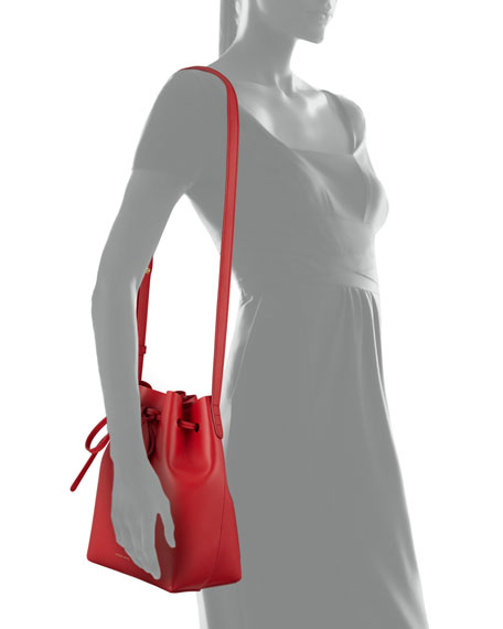 Mini Coated Leather Bucket Bag, Flame