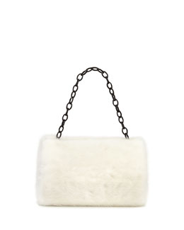 Nancy Gonzalez Small Framed Mink Fur Clutch Bag, White