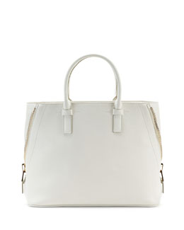 Jennifer Medium Trap Tote Bag, White