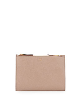 Triple-Zip Crossbody Bag, Nude