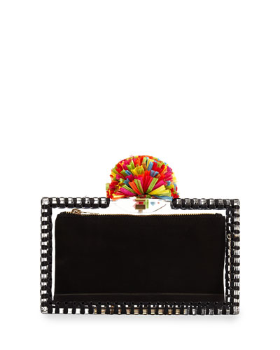 Pandora Pompom Clutch Bag, Clear/Black Multi