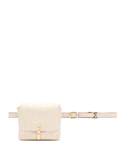 Cynnie Quilted Lambskin Belt Bag, Cream