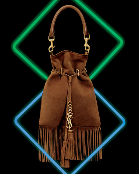 Monogram Small Suede Fringe Bucket Bag, Camel