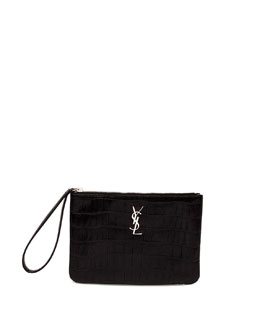Monogram Crocodile-Stamped Zip Pouch, Black