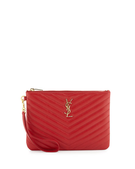 Monogram Matelasse Pouch Wallet, Red