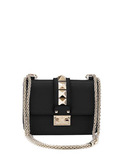 Lock Micro Mini Shoulder Bag, Black