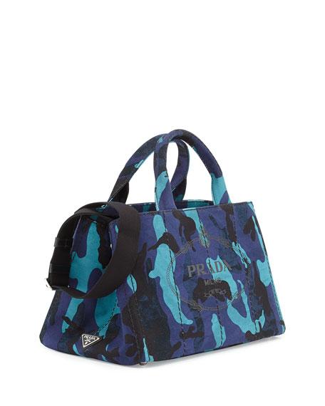 Prada Canapa Canvas Camouflage Gardener\u0026#39;s Tote Bag, Royal Blue (Royal)