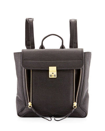 Pashli Leather Zip Backpack, Black