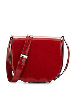 Lia Lacquered Leather Shoulder Bag, Lacquer