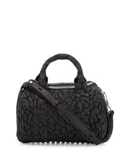Rocco Laser-Cut Pebbled Leather Satchel Bag, Black