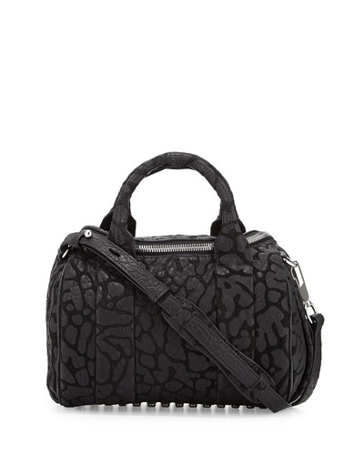 Rocco Laser-Cut Pebbled Leather Satchel Bag, Black