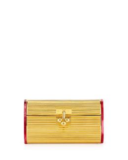 Dani Metal Backlit Evening Clutch Bag, Gold/Red