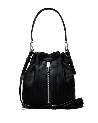 Cynnie Mini Belted Bucket Bag, Black