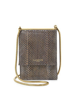 Snakeskin Mini Crossbody Bag, Dark Gray