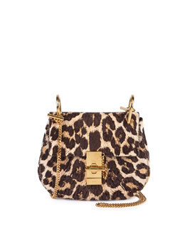 Drew Mini Chain Shoulder Bag, Leopard