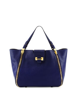 Sedgwick Double-Zip Leather Tote Bag, Cobalt