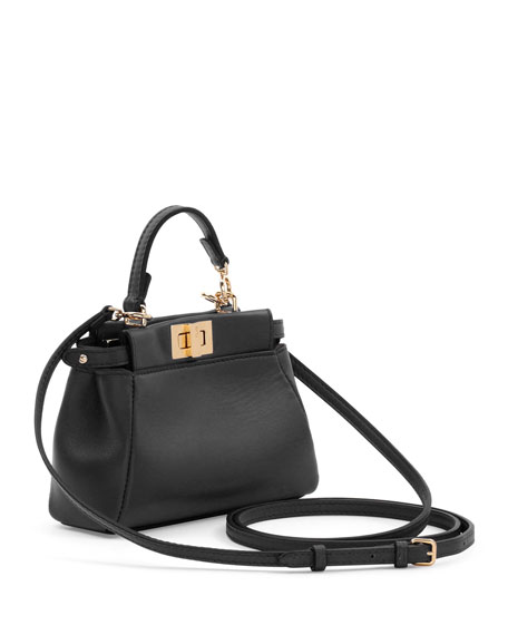 Peekaboo Micro Satchel Bag, Black