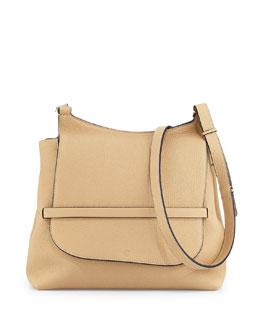 Sideby Pebbled Calfskin Shoulder Bag, Beige