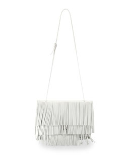 Large Fringe Lunch Bag, White