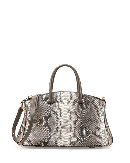 Trevi Demi Python Satchel, Natural Multi