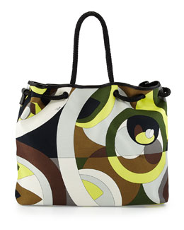 Kaleidoscope-Print Large Canvas Bag, Cocco