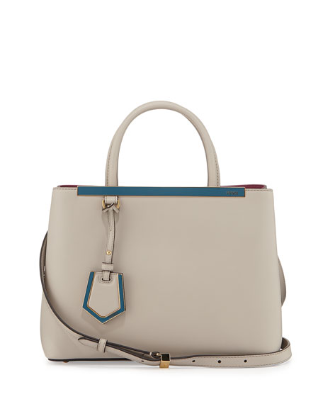 Fendi 2Jours Calf Leather Petite Tote Bag, Powder