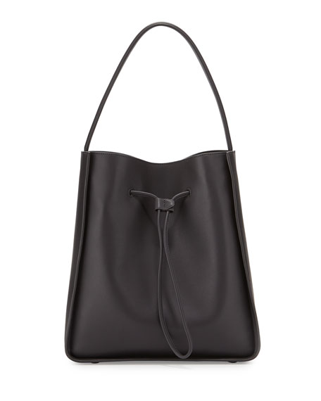Soleil Large Drawstring Bucket Bag, Charcoal