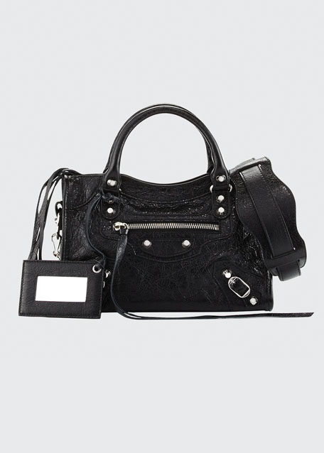 Classic Nickel Mini City AJ Bag, Black