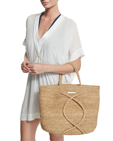 X Straw Beach Bag, Natural