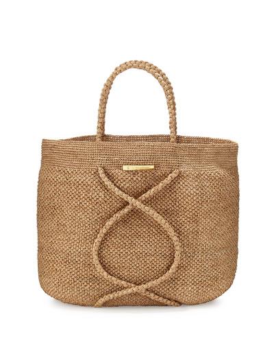 X Straw Beach Bag, Natural