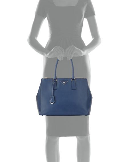 2fcd396c15 Prada City Calfskin Bicolor Double-Zip Galleria Tote Bag