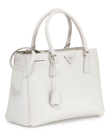 393c7db7146e Prada Saffiano Lux Small Gardener\u0026#39;s Tote Bag, White (