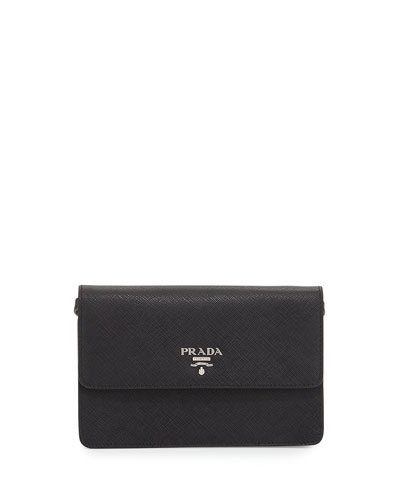 Saffiano Small Wallet-on-a-Strap, Black (Nero)