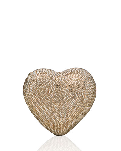 Heart Crystal Clutch Bag, Silver/Champagne