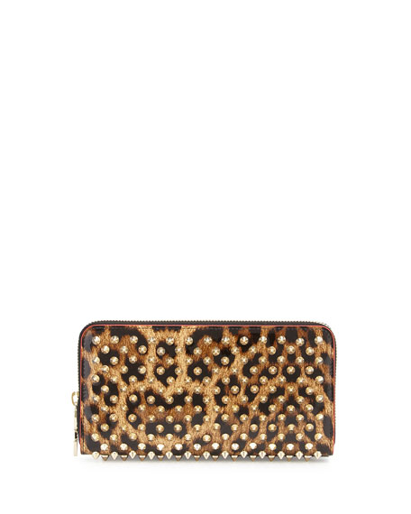 Panettone Spiked Leopard-Print Zip Wallet