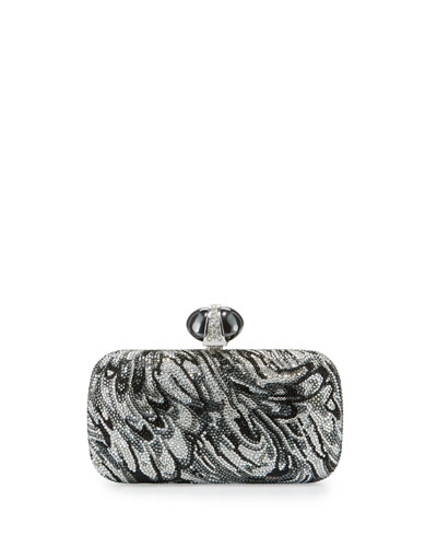 New Soap Dish Crystal Evening Clutch Bag, Silver Night/Multi