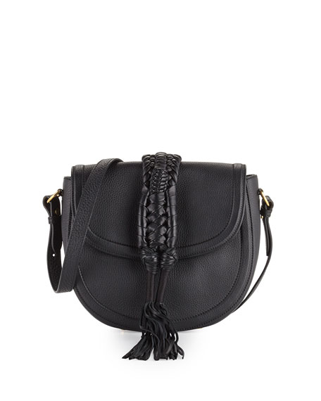 Ghianda Leather Saddle Bag, Black