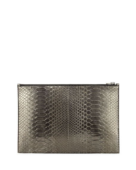Metallic Python Zip Pouch, Anthracite
