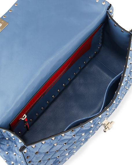 Rockstud Spike Large Chain Bag, Bright Blue