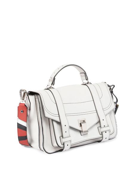PS1 Medium Patchwork-Strap Satchel Bag, White