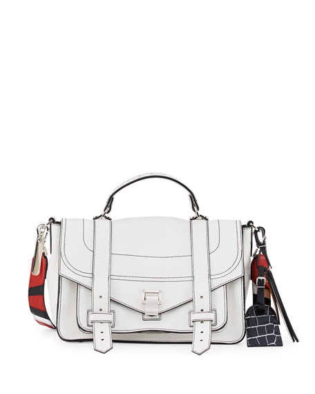 Proenza Schouler PS1 Medium Patchwork-Strap Satchel Bag, White