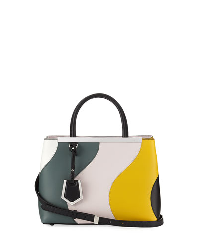 FENDI 2Jours Petite Waves Double-Handle Satchel Bag, White at BERGDORF GOODMAN