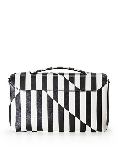 Anouk Striped Leather Day Bag, Black/White
