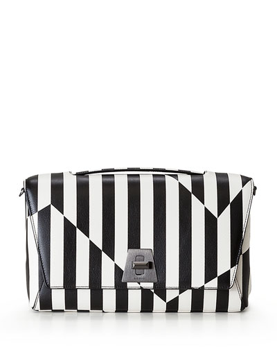 celine stingray box bag u4jv  Anouk Striped Leather Day Bag, Black/White